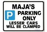 MAJA'S Personalised Parking Sign Gift | Unique Car Present for Her |  Size Large - Metal faced
